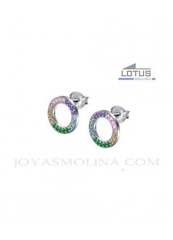 Pendientes Lotus plata circulo piedras colores LP1963-4-2
