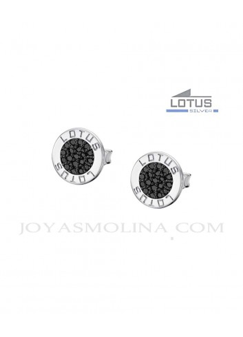 Pendientes Lotus Silver circulo piedras negras LP1252-4-4