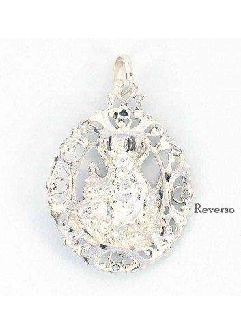 Medalla Virgen de la Cabeza plata nácar concha coronada