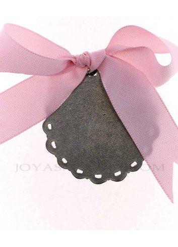 Medalla cuna Virgen Cabeza infantil  metal plateado lazo rosa reverso