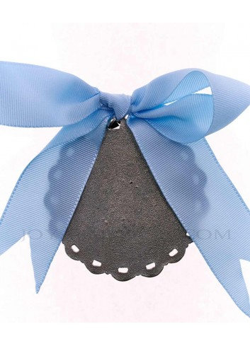Medalla cuna Virgen Cabeza infantil  metal plateado lazo azul reverso