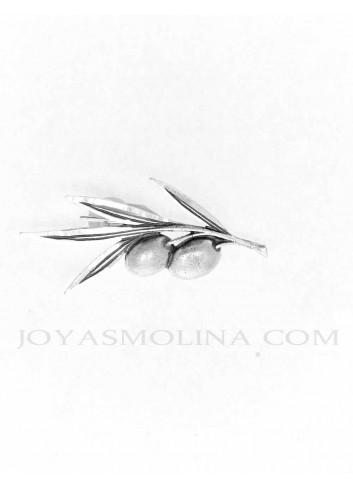 Alfiler plata rama olivo 2 aceitunas 45x25