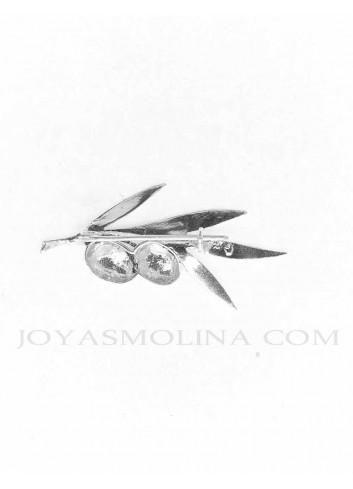 Alfiler plata rama olivo 2 aceitunas reverso