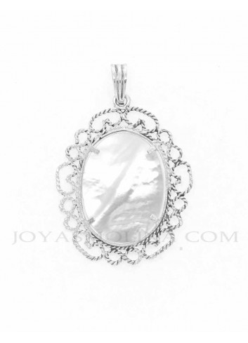 Medalla Virgen Rocío oval nácar reverso