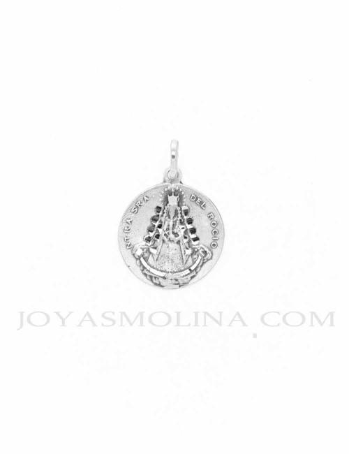 Medalla Virgen del Rocío plata redonda mate brillo