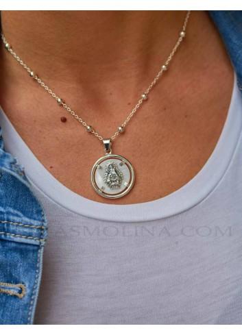 Medalla Virgen Cabeza plata nácar