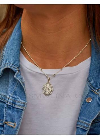 Medalla Virgen de la Cabeza plata oval  bisel rocallas 19x29