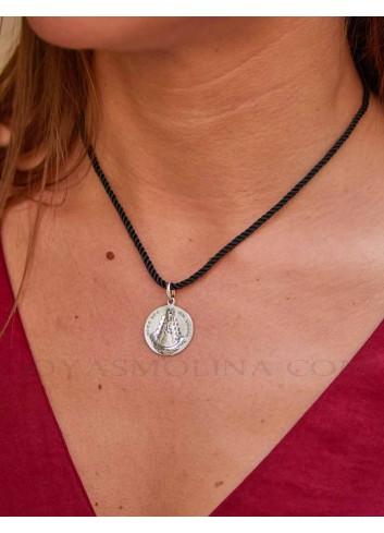 Medalla Virgen del Rocío plata redonda
