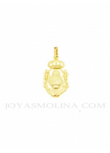 Medalla Virgen Cabeza oro ángeles corona reverso