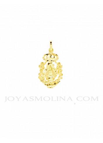 Medalla Virgen Cabeza oro ángeles corona