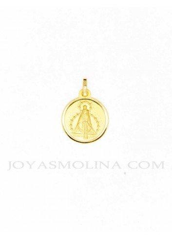 Medalla Virgen Cabeza oro redonda 16 mm