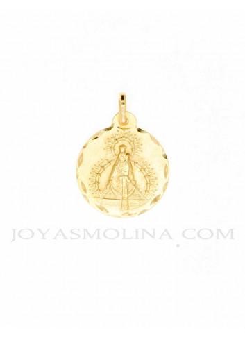 Medalla Virgen Cabeza oro redonda 22 mm bisel lapidado