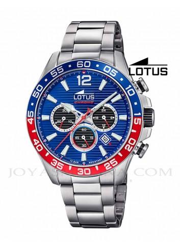 Reloj Lotus hombre cadena acero 18696-1 azul rojo