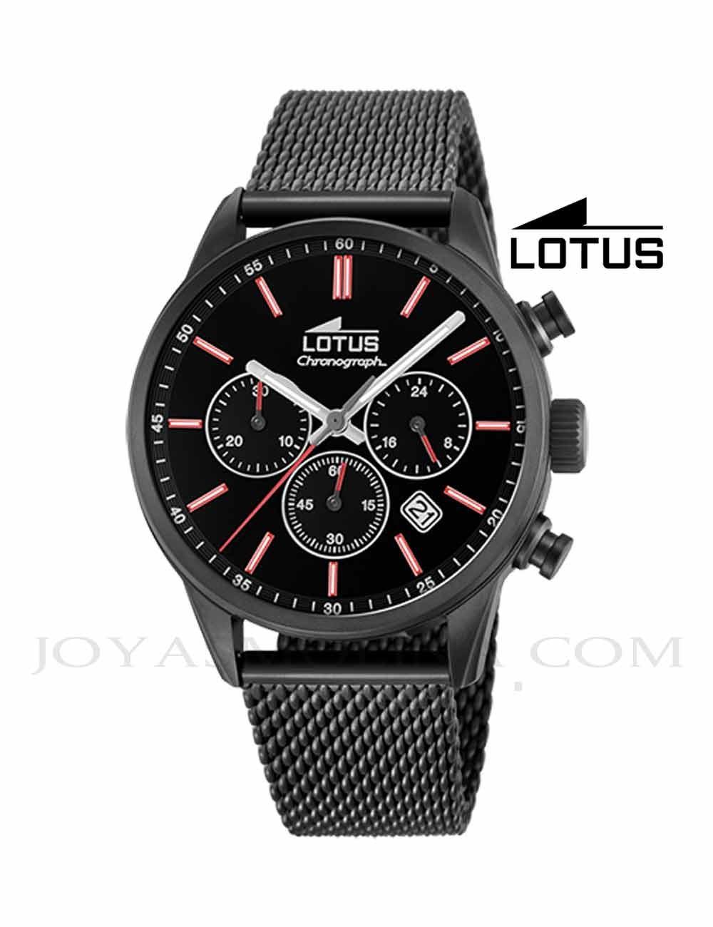 Reloj Lotus hombre negro cadena 18700-1