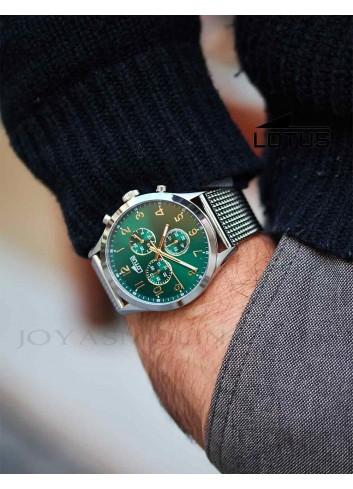 Reloj Lotus hombre cadena acero esfera verde