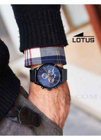 Reloj Lotus hombre azul cadena acero