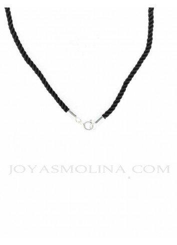 Cordón negro para colgantes 40 cm con terminal plata