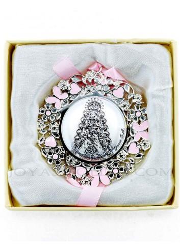 Medalla cuna Virgen Rocío flores rosas redonda niña