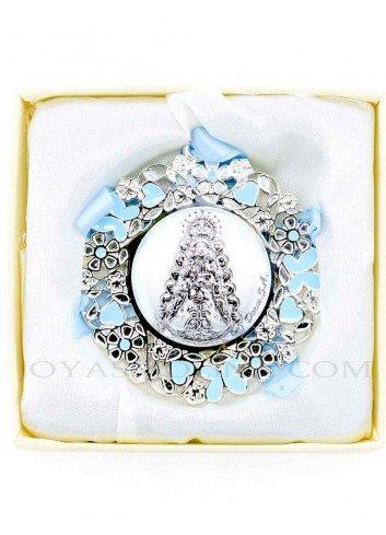 Medalla cuna Virgen Rocío flores azul redonda niño
