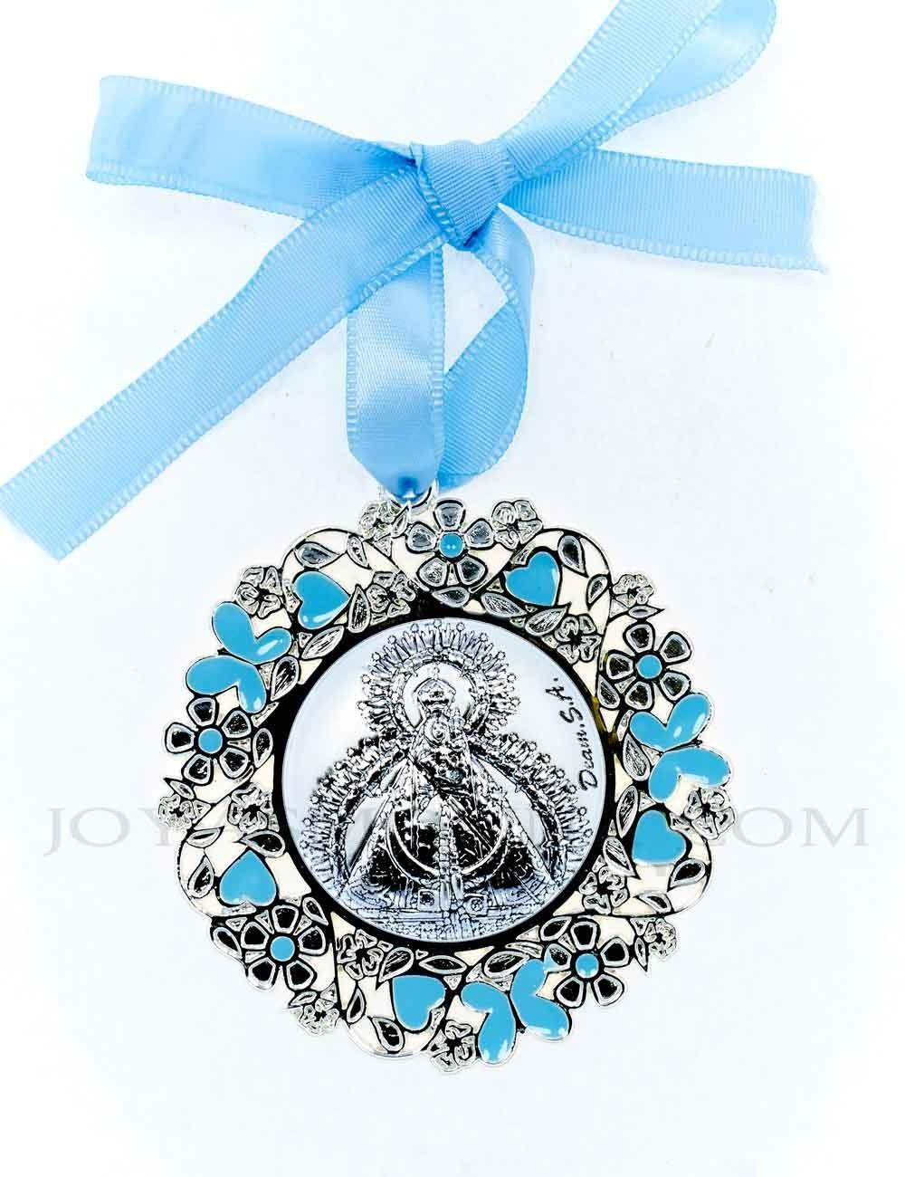 Medalla cuna Virgen de la Cabeza flores azul niño