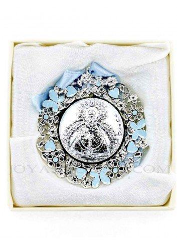 Medalla cuna Virgen de la Cabeza flores azul redonda