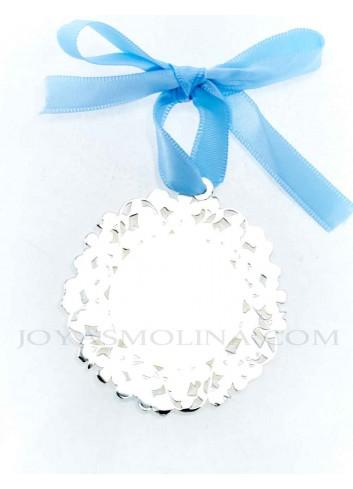 Medalla cuna Virgen de la Cabeza flores reverso
