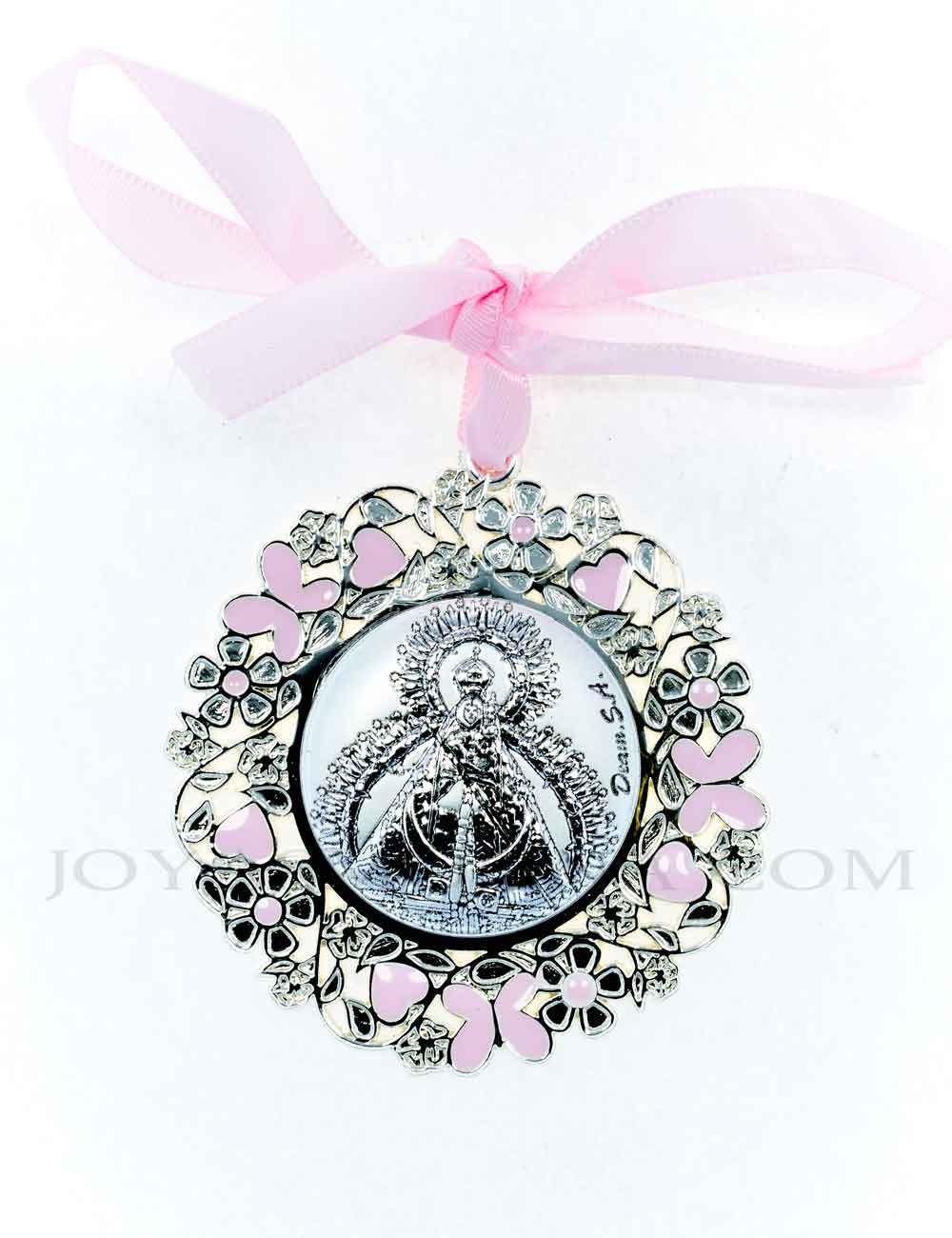 Medalla cuna Virgen de la Cabeza flores rosa redonda