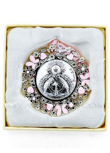Medalla cuna Virgen de la Cabeza flores rosa redonda caja