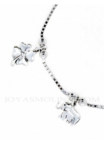 Pulsera suerte colgantes trebol elefante plata