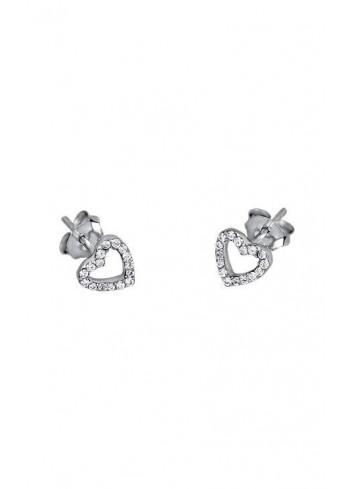 Pendientes plata corazones circonitas Colección con amor Lotus Silver LP1516-4/1