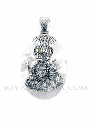 Medalla Virgen Cabeza plata nácar oval