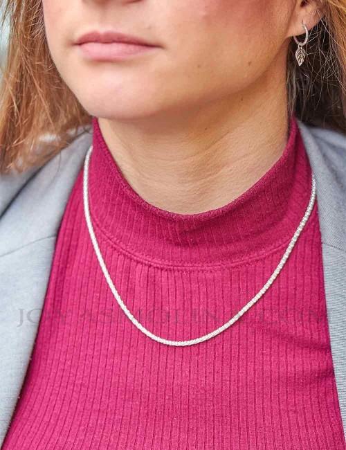 Cadena plata estilo coreana 45 mujer