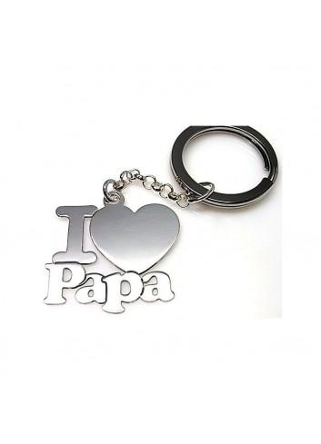 Llavero I corazón LOVE PAPÁ PLATA