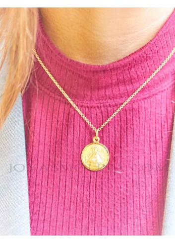 Medalla Virgen de la Cabeza oro redonda 20 mm mujer