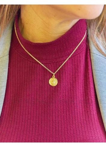 Medalla Virgen de la Cabeza oro redonda bisel espiga 14 mm mujer