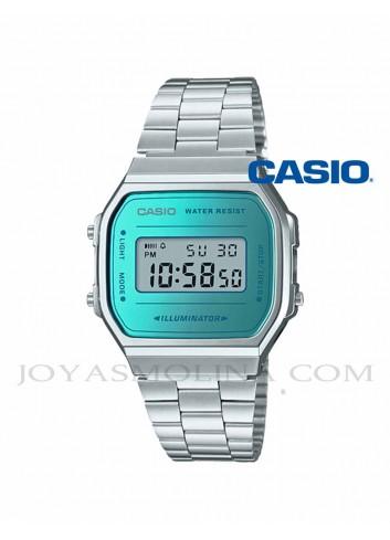 Reloj Casio digital turquesa y plateado unisex A168WEM-2EF