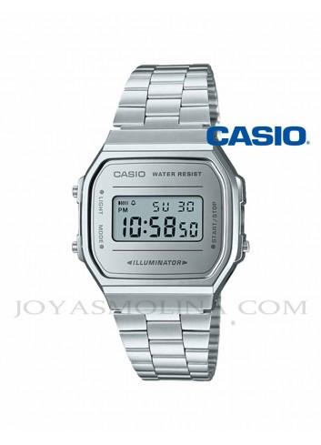 Reloj Casio digital plateado vintage unisex A168WEM-7EF