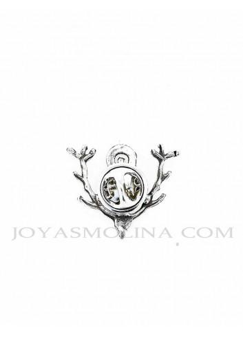 Reverso Pin Virgen de la Cabeza cuernas ciervo plateado