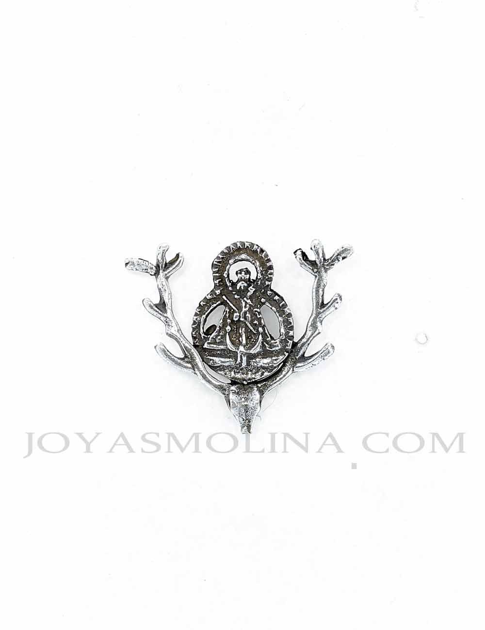 Pin Virgen de la Cabeza cuernas ciervo plateado