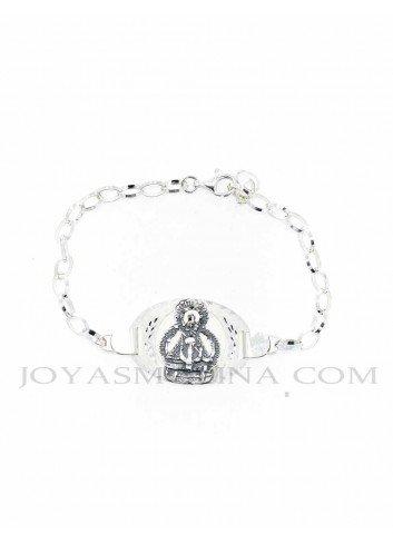 Pulsera Virgen  de la Cabeza plata oval calada grande