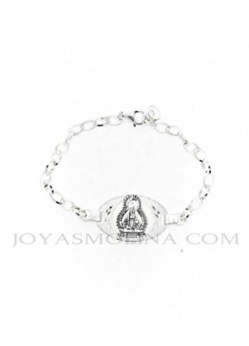 Pulsera Virgen  de la Cabeza plata oval calada mediana