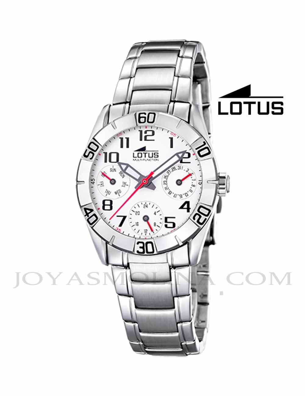 Reloj niño Lotus cadena esfera blanca multifunciones redondo