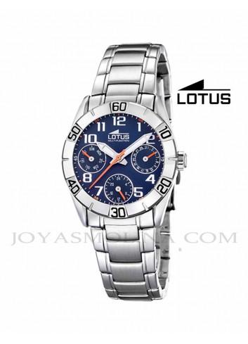 Reloj niño Lotus cadena esfera azul multifunciones redondo
