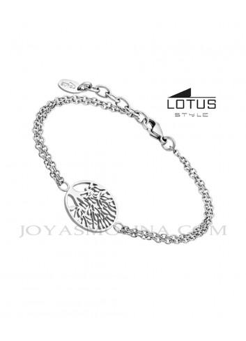Pulsera Lotus Style árbol de la vida acero doble cadena LS1898-2-1
