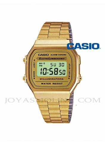 Reloj Casio digital dorado vintage unisex A168WG-9EF
