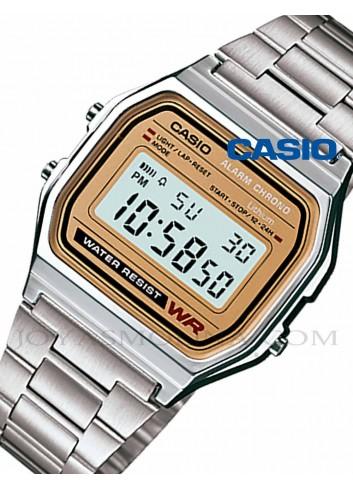 Reloj Casio digital dorado y plateado unisex A158WEA-9EF