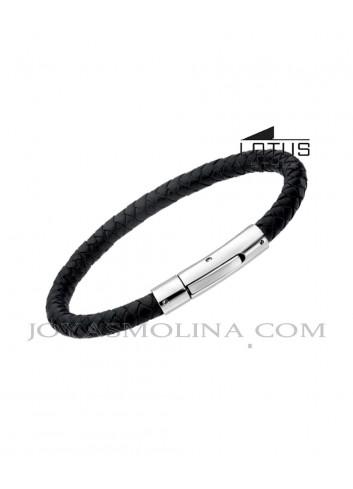 Pulsera hombre Lotus cuero trenzado redondo negro LS1119-2-1