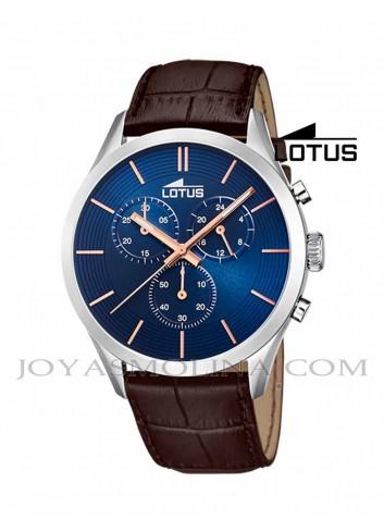 Reloj Lotus hombre correa marrón esfera azul 18119/4