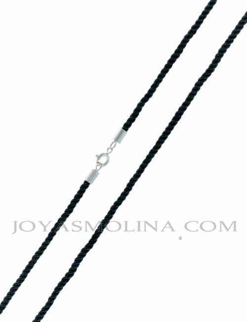 Cordón negro con terminal de plata