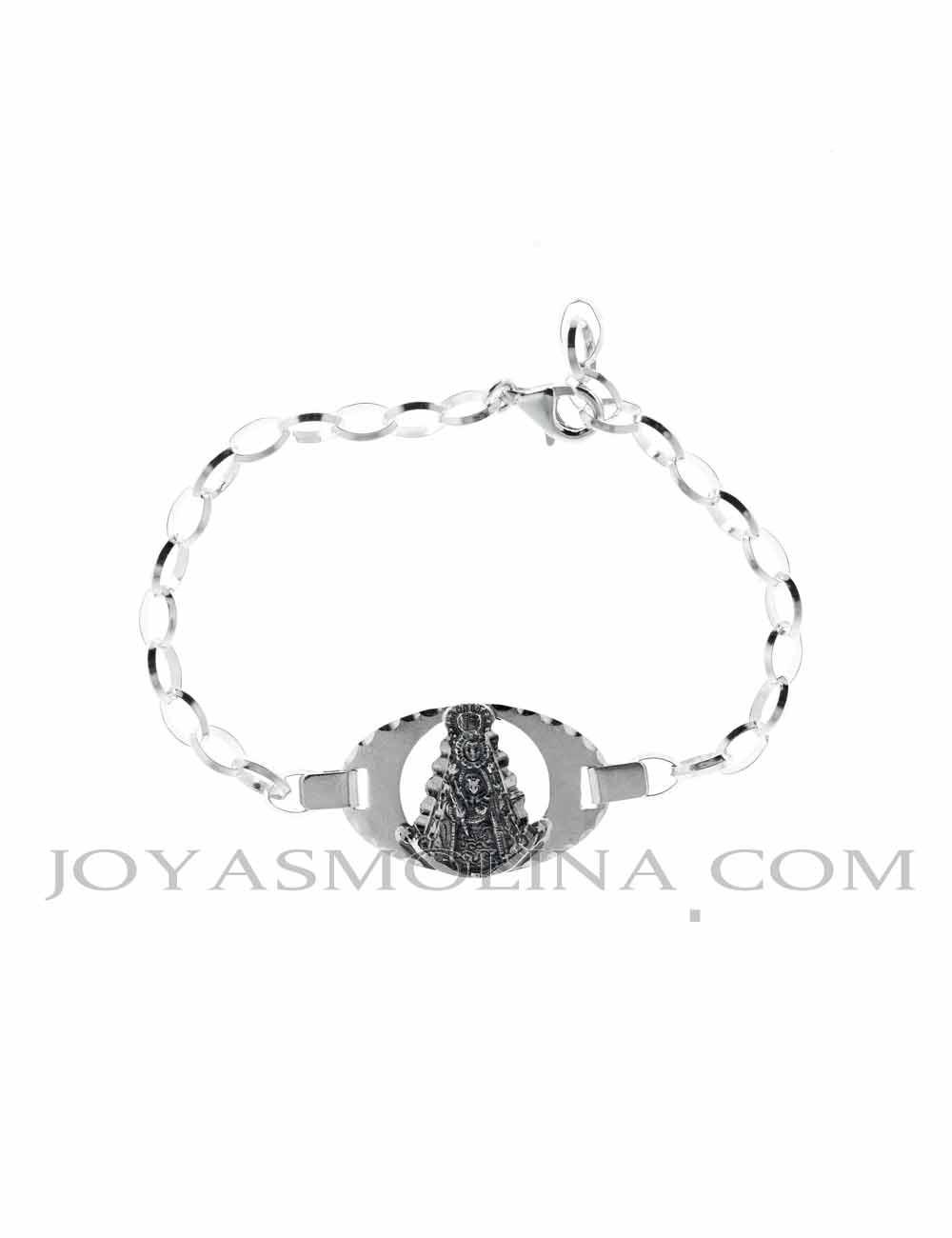 Pulsera Virgen  del Rocío oval plata mediana